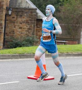 Photo: Fundraising for Parkinsons UK as Dave the Worm at Chesterfield Half Marathon Credit: Robert Scriven
