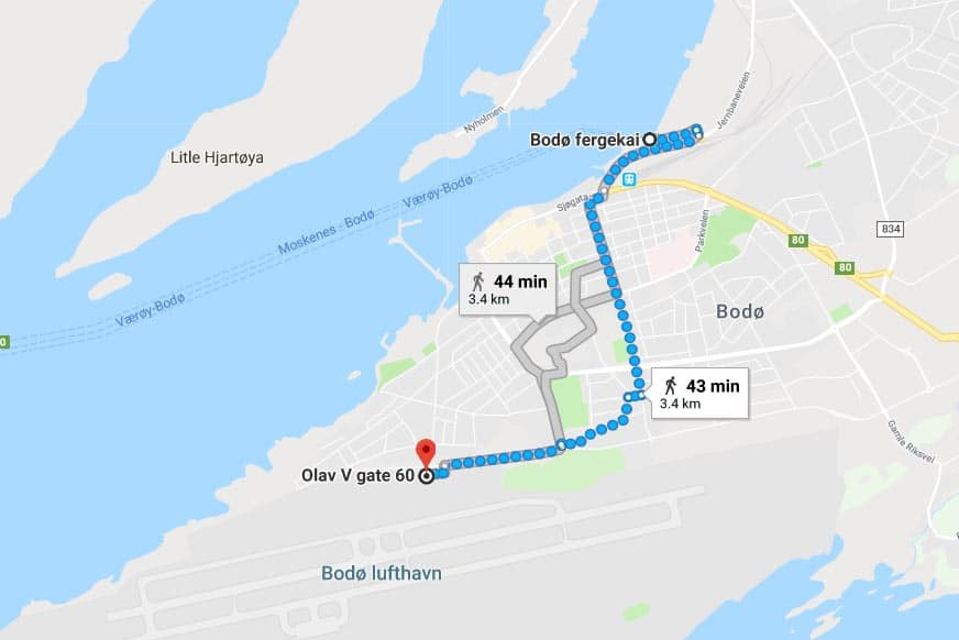 Map of the route from Bodo Airport to the ferry to Lofoten