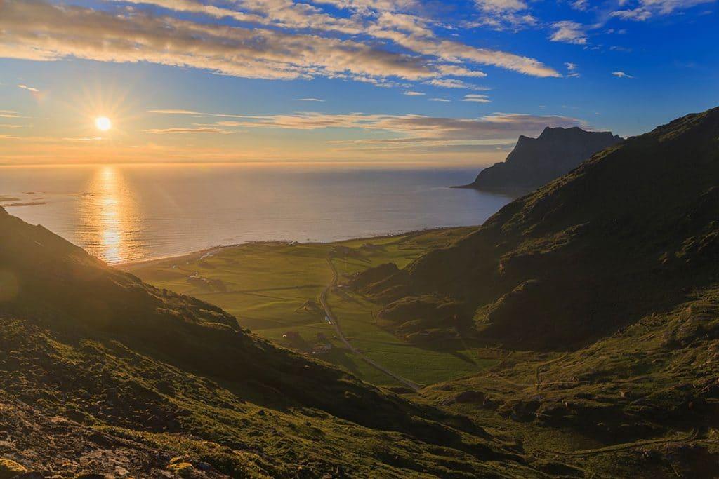 Midnight sun view from Mannen mountain