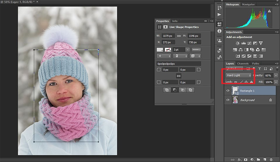 Set blending mode for the layer. My pick Hard Light layer mode.