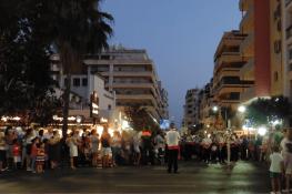 The Virgen del Carmen procession turning into Marbella´s high street, Avenida Ricardo Soriano.