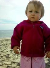 Annie at the Beach 16 months intense face