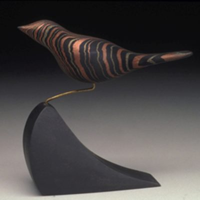 Mary Thouin-Stubbs, Leonard, Minnesota, Acrylic with metallic powder on dyed birch wood