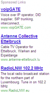 Ads on .tel to the right of the main listing.