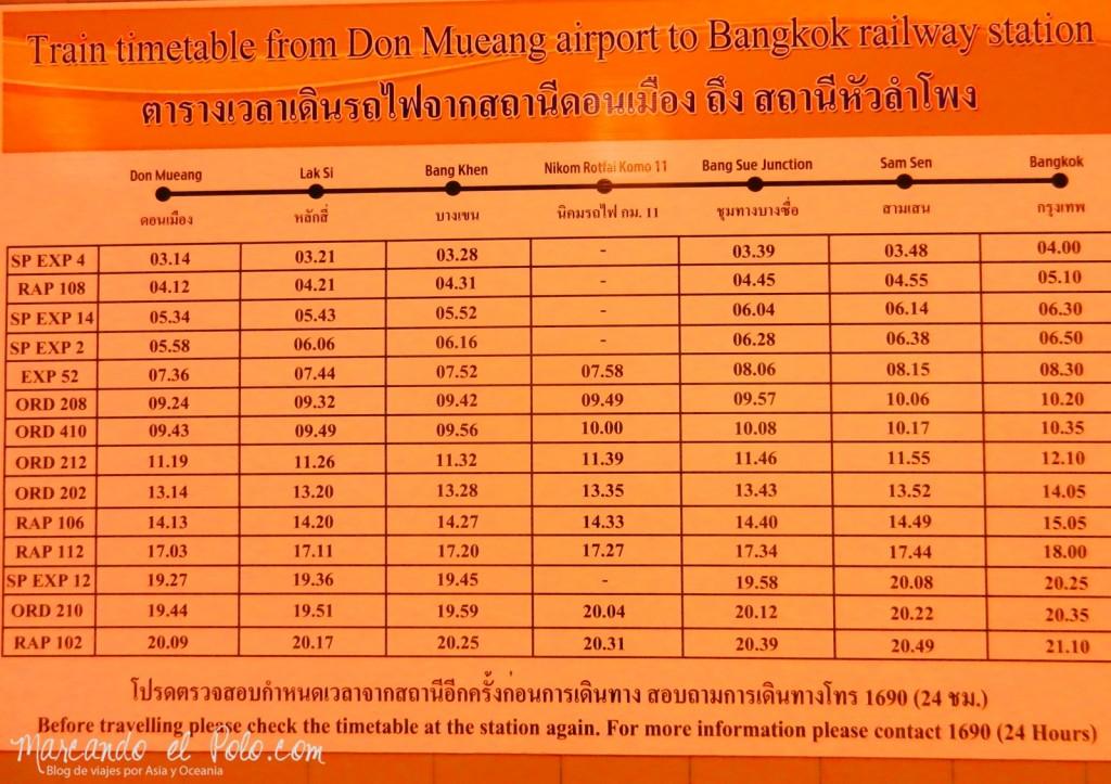 Primer viaje a Bangkok: Horario trenes aeropuerto Bangkok