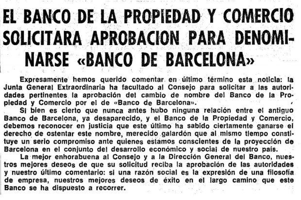 La Junta de Accionistas del Banco de la Propiedad anuncia el cambio de nombre por el de Banco de Barcelona
