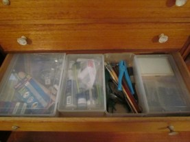 drawer in tall boy - from left, clay & tools, resin, glass tools, metal stamping tools