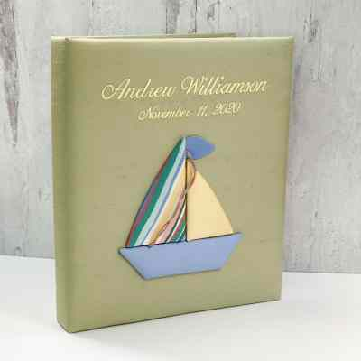 Large Ring Bound Photo Album In Silk With Pastel Sailboats