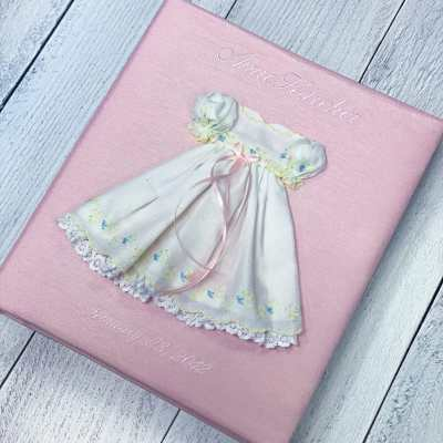 Baby Memory Book In Shantung With Swiss Batiste Dress With Flowers