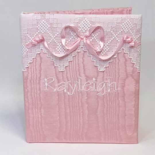 Baby-Memory-Book-KBRE-37B-Pink-Moire-Thread-Fun-Font-White-Thread