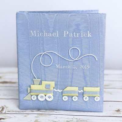 Baby Memory Book In Moiré With Choo Choo Train