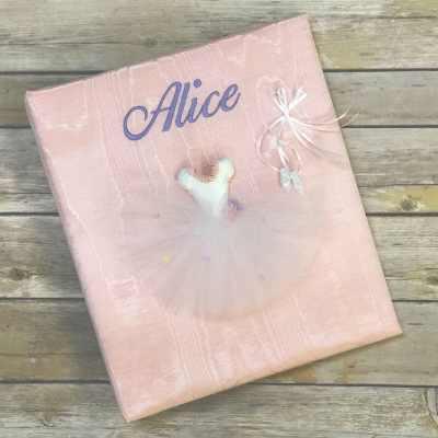 Baby Memory Book In Moiré With Ballerina Tutu