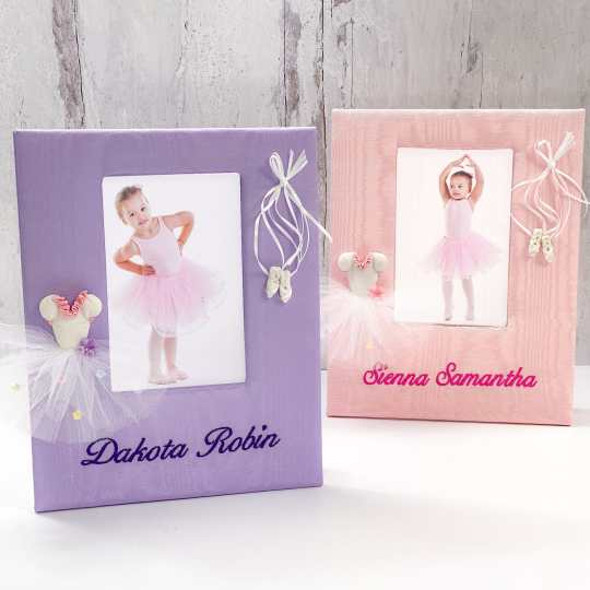 Baby Photo Frame In Moiré With Ballerina Tutu