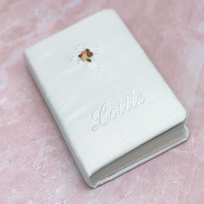 Children's Bible In Shantung With White Cross & Flowers