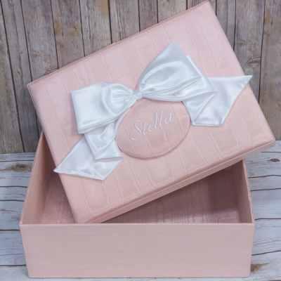 Large-Baby-Keepsake-Box-B21R-81-Pink-Ballantines-White-Bow-White-Thread-Stella