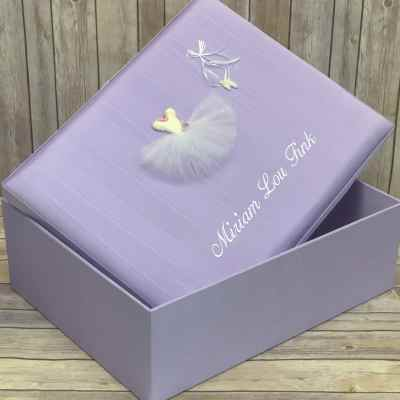 Large-Baby-Keepsake-Box-B21R-TT-Lilac-Moire-Ballantines-Font-White-Thread