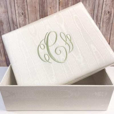 Large Baby Keepsake Box In Baby Moiré