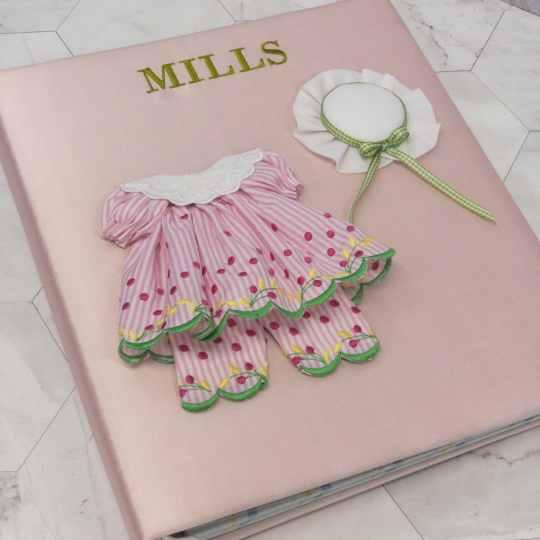 Large-Baby-Photo-Album-AR11-24G-Pink-Silk-Bodini-Apple-Green-Thread
