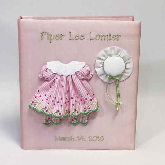 Large-Baby-Photo-Album-AR11-24G-Pink-Silk-Thread-Fun-Celadon-Thread