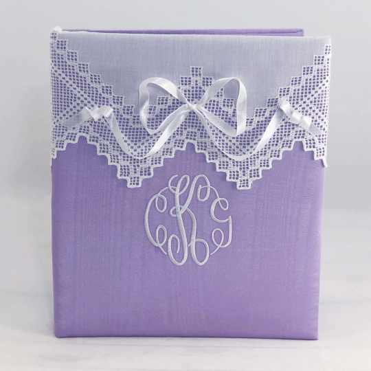 Large-Baby-Photo-Album-AR11-37B-Lilac-Moire-Fancy-Monogram-White-Thread