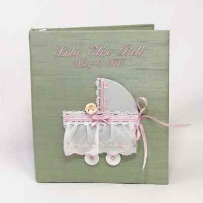 Large-Baby-Photo-Album-AR11-4-Celadon-Ballantines-Baby-Pink-Thread