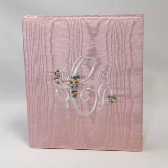 Large-Baby-Photo-Album-AR11-EM-Baby-Pink-Moire-Fancy-Monogram-WhiteThread