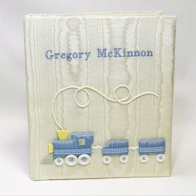 Large-Baby-Photo-Album-AR11-TR-Cream-Moire-Bodoni-Font-Baby-Blue-Thread