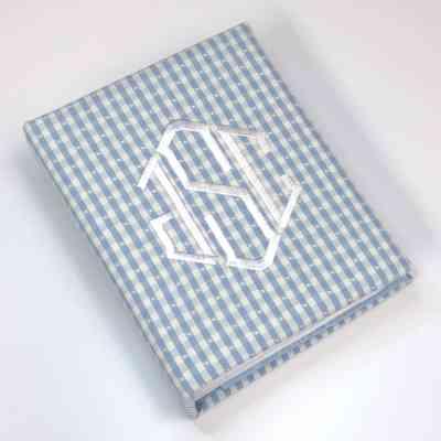Small Hardbound Photo Album In Gingham Cotton