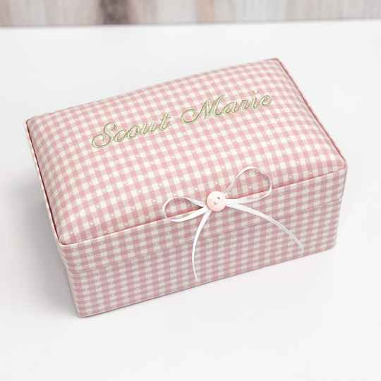 Small Baby Keepsake Box In Gingham Cotton