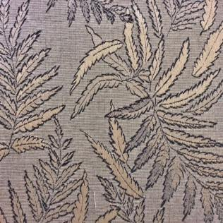 Fabric-Swatch-Brocade-Black-and-Taupe-Leaves-Brocade