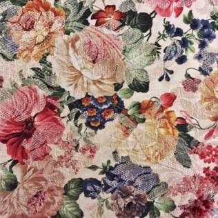 Fabric-Swatch-Brocade-Colored-Flowers-on-Ecru-Brocade