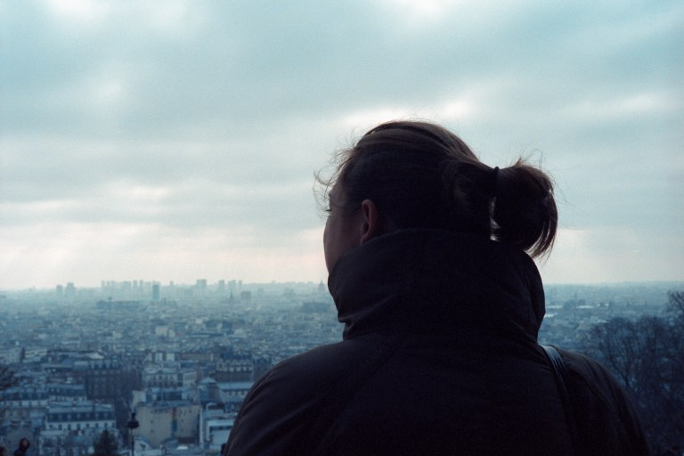 Julie overlooking Paris