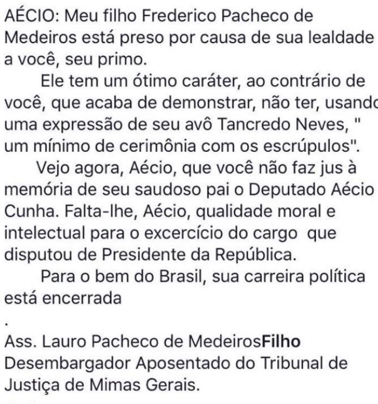 Postagem no Facebook atribuída ao desembargador mineiro aposentado Lauro Pacheco de Menezes Filho.