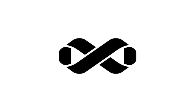 08. El lazo que forma la cinta de Möbius del signo Infinito y representa la síntesis del tratamiento (negro sobre blanco).
