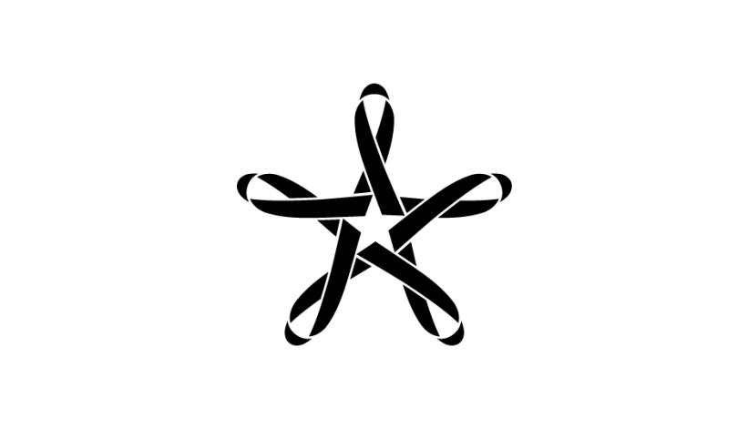 02. Composición con lazos imbricados en estrella de 5 puntas (negro sobre blanco).