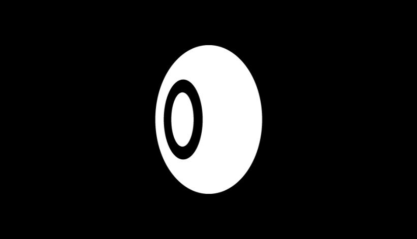 31. Evocación de la tecnología de exploración a través de anillos radiantes en 3D (blanco sobre negro).