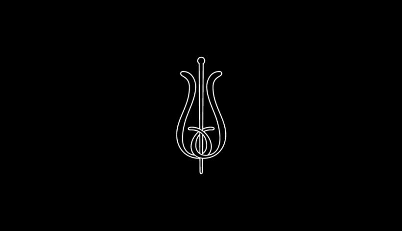 21. Configuración lineal ambivalente de flor y vara de esculapio (blanco sobre negro).