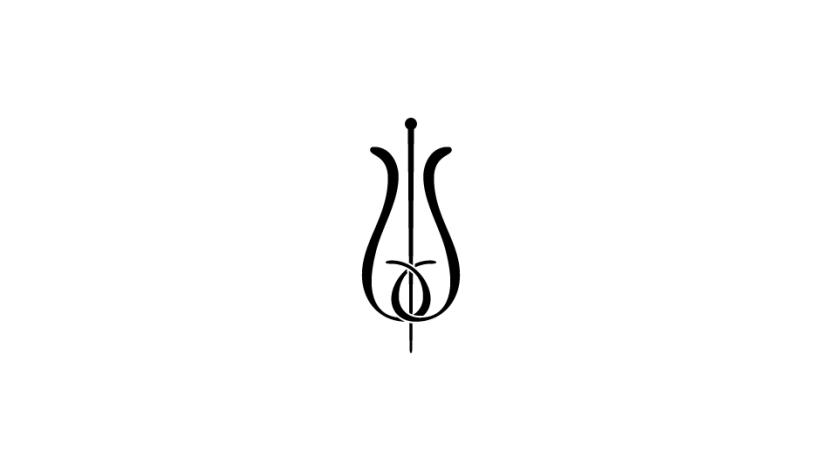20. Configuración ambivalente de flor y vara de esculapio (negro sobre blanco).