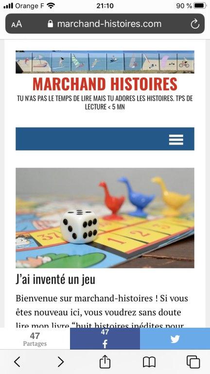 on arrive sur le site marchand-histoires.com
