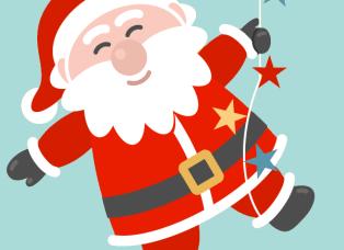 Père Noël sur une corde