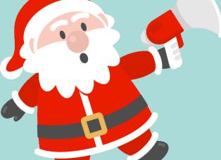 Père Noël avec un haut-parleur