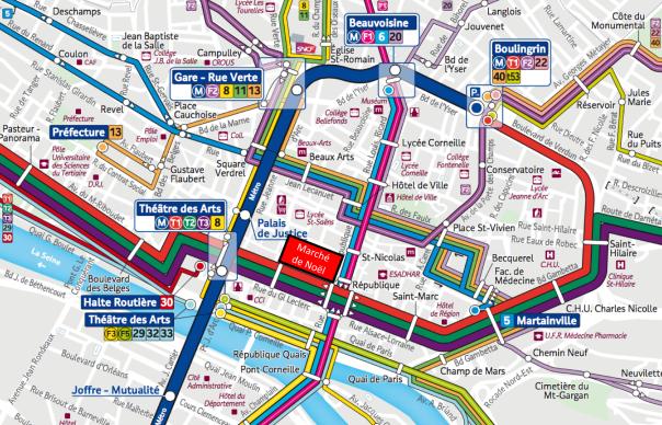 Plan bus métro Rouen