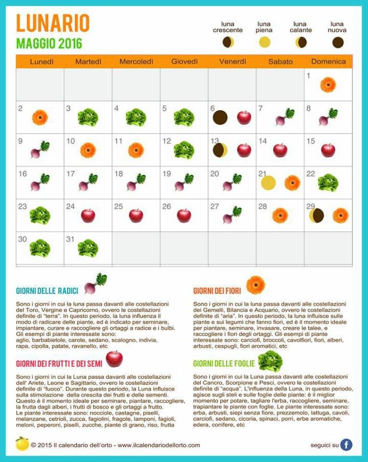 calendario lunare di maggio