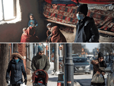 An internally displaced Afghan family on the outskirts of Kabul, Afghanistan; People enjoying the sunshine in Ottawa. PHOTO BY OMAR SOBHANI/REUTERS; ASHLEY FRASER/POSTMEDIA