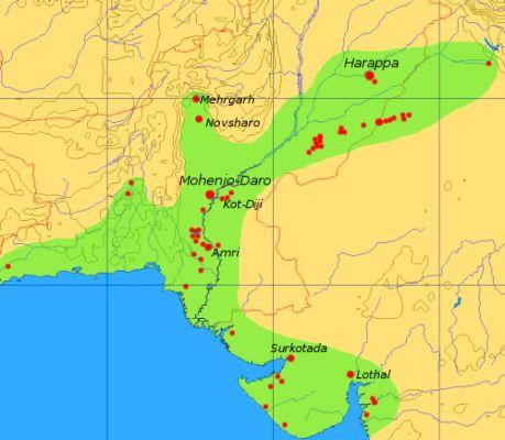 Extrensión máxima de la Cultura del valle del Indo. Wikimedia Commos.