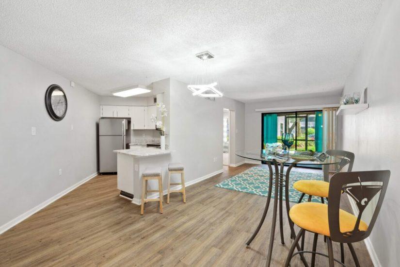 Condo flip showing renovated living room