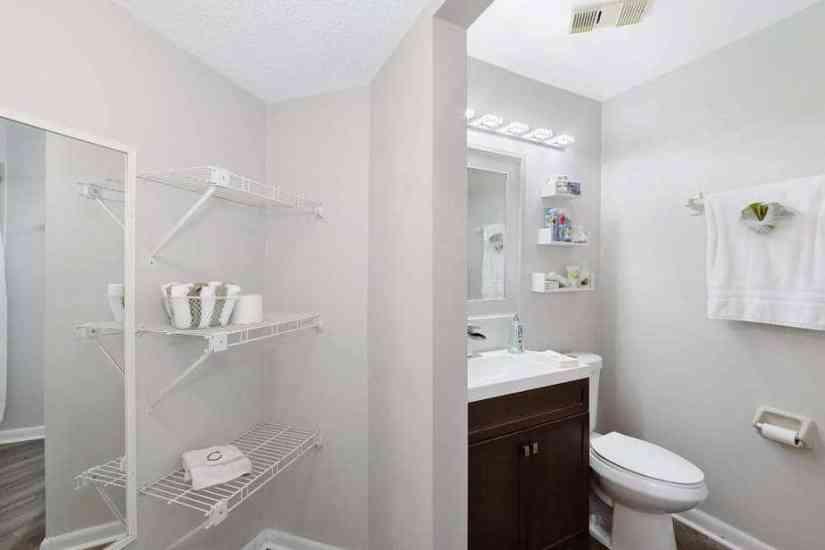 small renovated condo bathroom