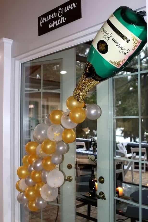 champagne balloon setup