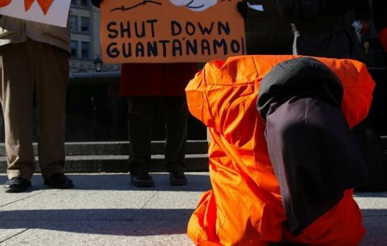 Protesters at the U.S. Supreme Court Wearing Prisoner Jumpsuits