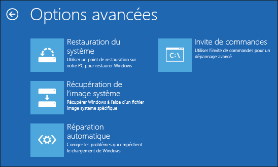 Options reparation de WIndows 8